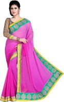 Khoobee Self Design, Embroidered Fashion Chiffon Saree(Pink)
