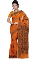 Mrsaree Self Design Tant Handloom Cotton Saree(Orange)