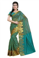 Vastrakala Checkered Banarasi Cotton, Silk Saree(Green)