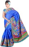 Khoobee Printed Bhagalpuri Cotton Blend Saree(Blue, Beige)