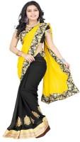 Patankar Fab Self Design Bollywood Georgette Saree(Yellow)
