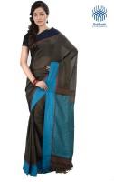 Tantuja Solid Tangail Handloom Cotton Saree(Black)