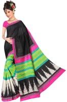 Jiya Self Design, Printed Fashion Poly Silk Saree(Multicolor, White, Black, Pink)