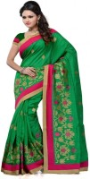 Meghdoot Self Design Fashion Poly Silk Saree(Green)