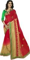 Jiya Self Design, Embroidered Fashion Poly Georgette Saree(Red, Beige)