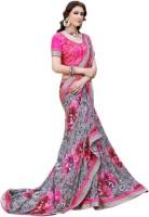 Vastrani Embroidered Fashion Georgette Saree(Grey, Pink)