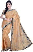 Ambition Embellished Fashion Silk Saree(Beige)