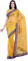 JTInternational Self Design Fashion Net Saree(Yellow)