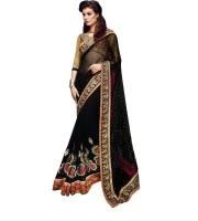 Admyrin Embroidered Fashion Net, Georgette Saree(Black)