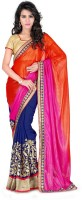 Welcome Fashion Solid Bollywood Handloom Georgette Saree(Multicolor)