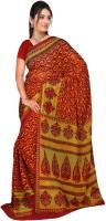 Jiya Self Design, Printed Fashion Chiffon Saree(Multicolor, Red, Yellow)