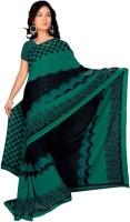 Jiya Self Design, Printed Fashion Poly Georgette Saree(Green, Black)