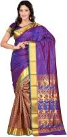 Sonal Trendz Self Design Kanjivaram Art Silk Saree(Blue)