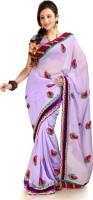 Designersareez Self Design Fashion Chiffon Saree(Purple)