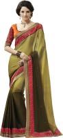 Melluha Embroidered Fashion Chiffon Saree(Green)