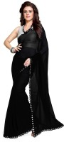 Mirchi Fashion Solid Synthetic Georgette Saree(Black)
