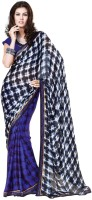 Cenizas Printed Fashion Georgette Saree(Blue)