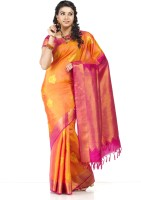 Thara Sarees Self Design Kanjivaram Silk Saree(Pack of 2, Orange, Pink)