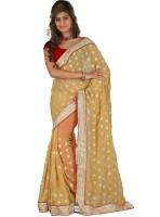 Lookslady Embroidered Fashion Chiffon Saree(Beige)
