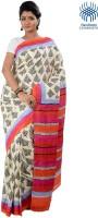 Tantuja Self Design Fashion Handloom Silk Saree(White)