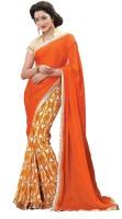 Jiya Self Design, Printed Fashion Chiffon Saree(Multicolor, Orange)