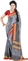 Jiya Self Design, Printed Fashion Cotton Blend, Poly Crepe Saree(Multicolor, Red, Grey)