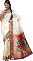 Ishin Printed Fashion Poly Silk Saree(White)