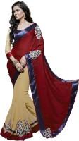 Jiya Self Design, Embroidered, Embellished Fashion Poly Georgette Saree(Red, Beige)