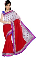 Sonal Trendz Embroidered Bollywood Chiffon Saree(Red)