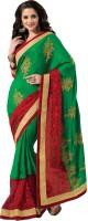 M.S.Retail Self Design Fashion Satin, Net Saree(Green)