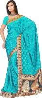 MGS Self Design Fashion Brasso Saree(Blue)