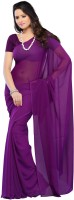 Surupta Solid Fashion Handloom Pure Georgette Saree(Purple)