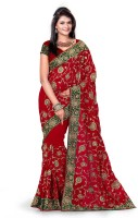 Mrsaree Embroidered Fashion Handloom Georgette Saree(Red)