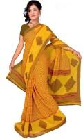 Khoobee Self Design, Printed Fashion Poly Georgette Saree(Yellow)