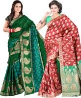 Indi Wardrobe Woven Banarasi Handloom Banarasi Silk Saree(Pack of 2, Green, Red)