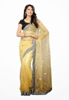 Dancing Girl Embroidered Bollywood Net Saree(White)