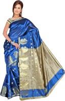 Pavechas Solid Banarasi Cotton, Nylon Saree(Blue)