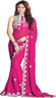 Sourbh Sarees Self Design, Solid, Printed Fashion Georgette Saree(Pink)