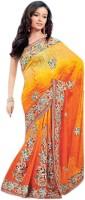 Aagaman Fashion Self Design Lehenga Saree Jacquard Saree(Orange)