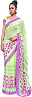 Vishal Self Design Fashion Chiffon Saree(Green)