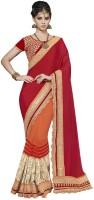 Desi Butik Embellished Fashion Chiffon, Net Saree(Red, Orange)