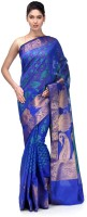 Bunkar Self Design Banarasi Cotton Saree(Blue, Green)