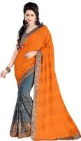 Jiya Self Design, Embroidered, Embellished Fashion Cotton Blend, Poly Georgette Saree(Orange, Grey)