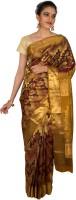 Thara Sarees Self Design Kanjivaram Silk Saree(Maroon, Yellow)