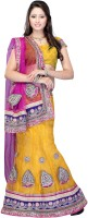 JTInternational Self Design Lehenga Saree Net Saree(Pink, Yellow)