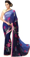Vibes Embroidered Fashion Synthetic Georgette Saree(Blue)