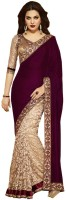 Aksh Fashion Embroidered Bollywood Velvet Saree(Multicolor)