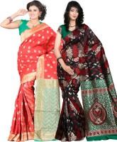 Indi Wardrobe Woven Banarasi Handloom Banarasi Silk Saree(Pack of 2, Red, Black)