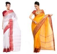 Purabi Self Design Tant Handloom Cotton Saree(Pack of 2, White, Yellow)