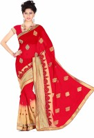 Khoobee Embroidered Fashion Poly Georgette Saree(Red)